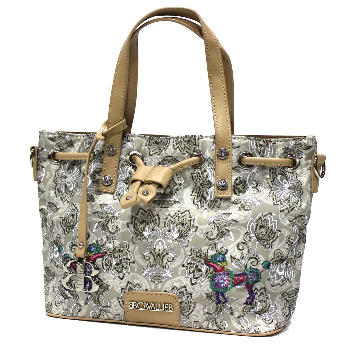 reputable site e3154 f909c Women's nylon and imitation leather shopping bag B.Cavalli line Howelite  901 gry