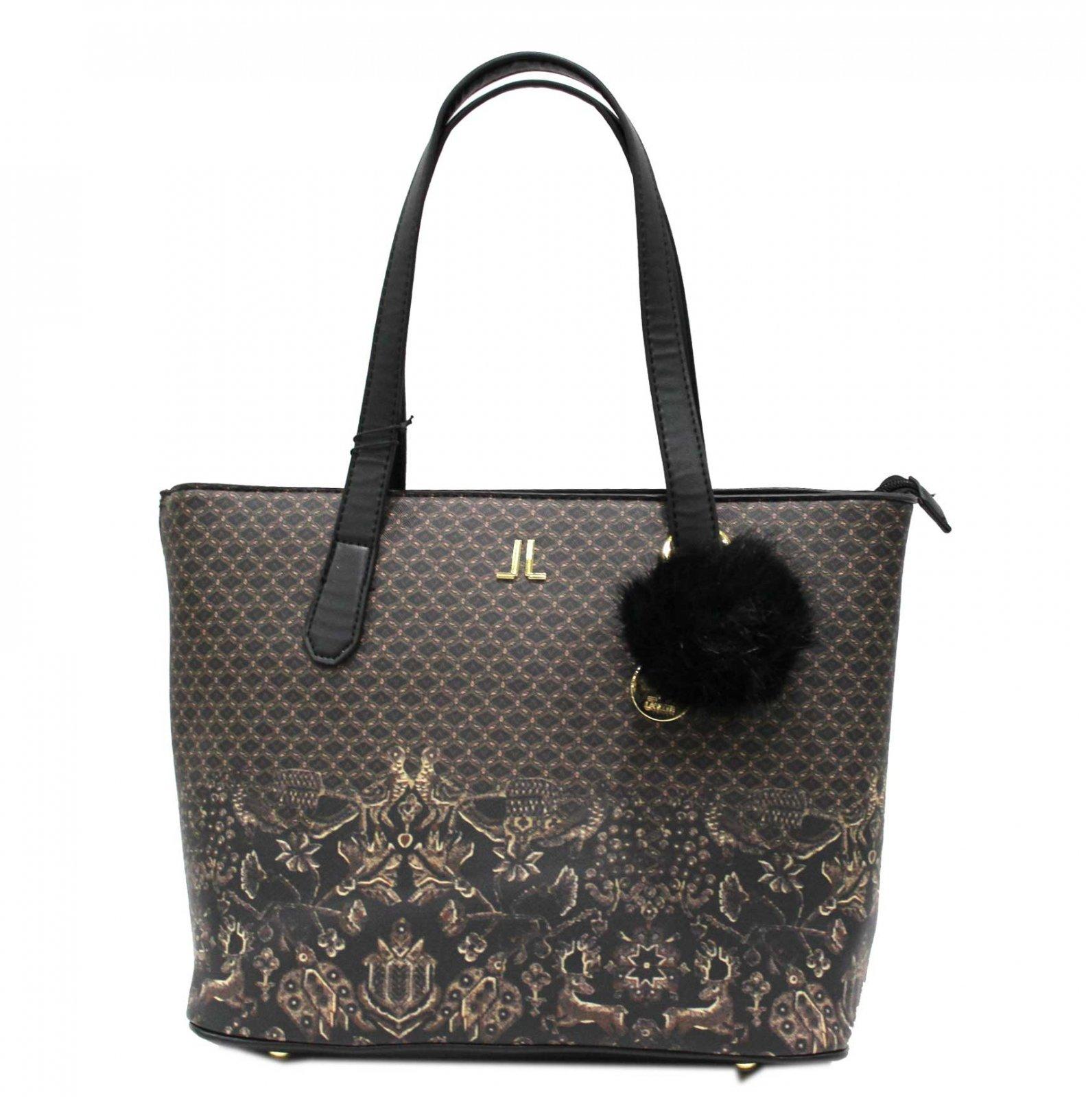 Borsa donna SIMILPELLE modello shopping a spalla con pon pon LANCETTI 7500  nero Colore  9f8c51646b1