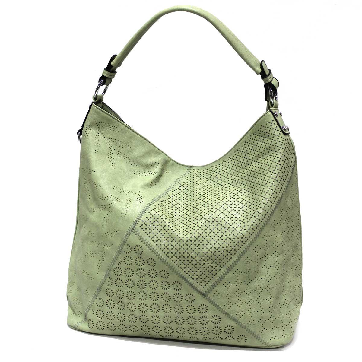 shopping prezzi al dettaglio stati Uniti Borsa donna in similpelle forata sacca a spalla con tracolla Lookat B1210  verde