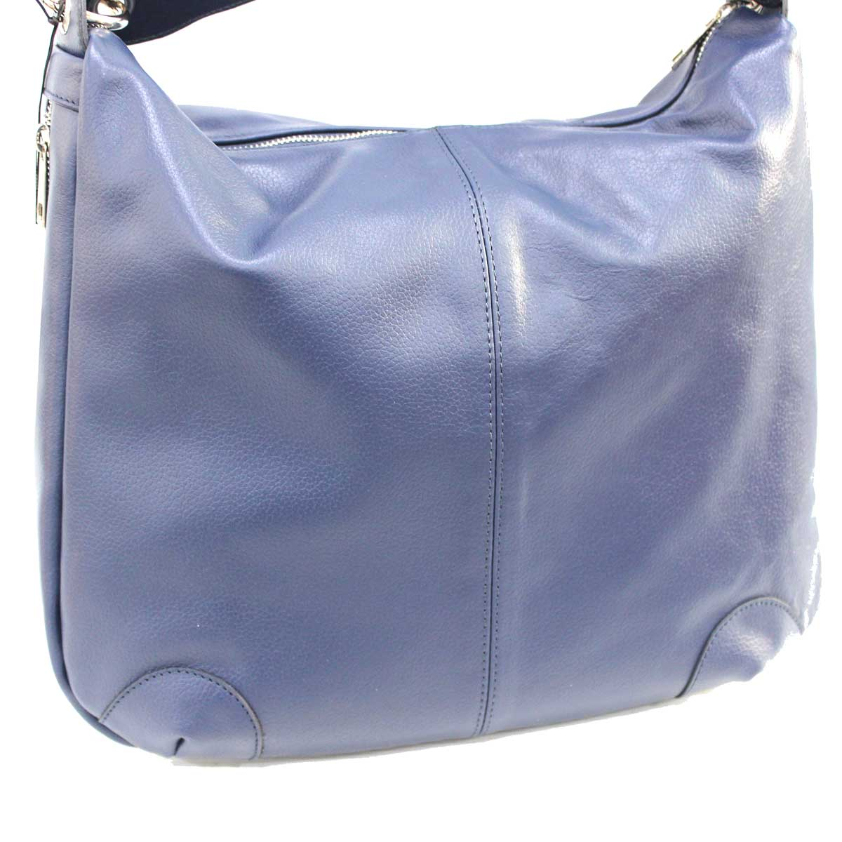 Borsa donna in vera pelle sacca a spalla Albano 901 blu