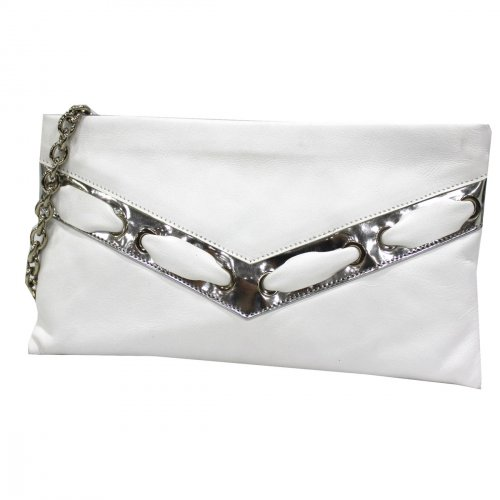 e345970686 Women's bag clutch ceremony evening handbag party Annaluna white made In  Italy