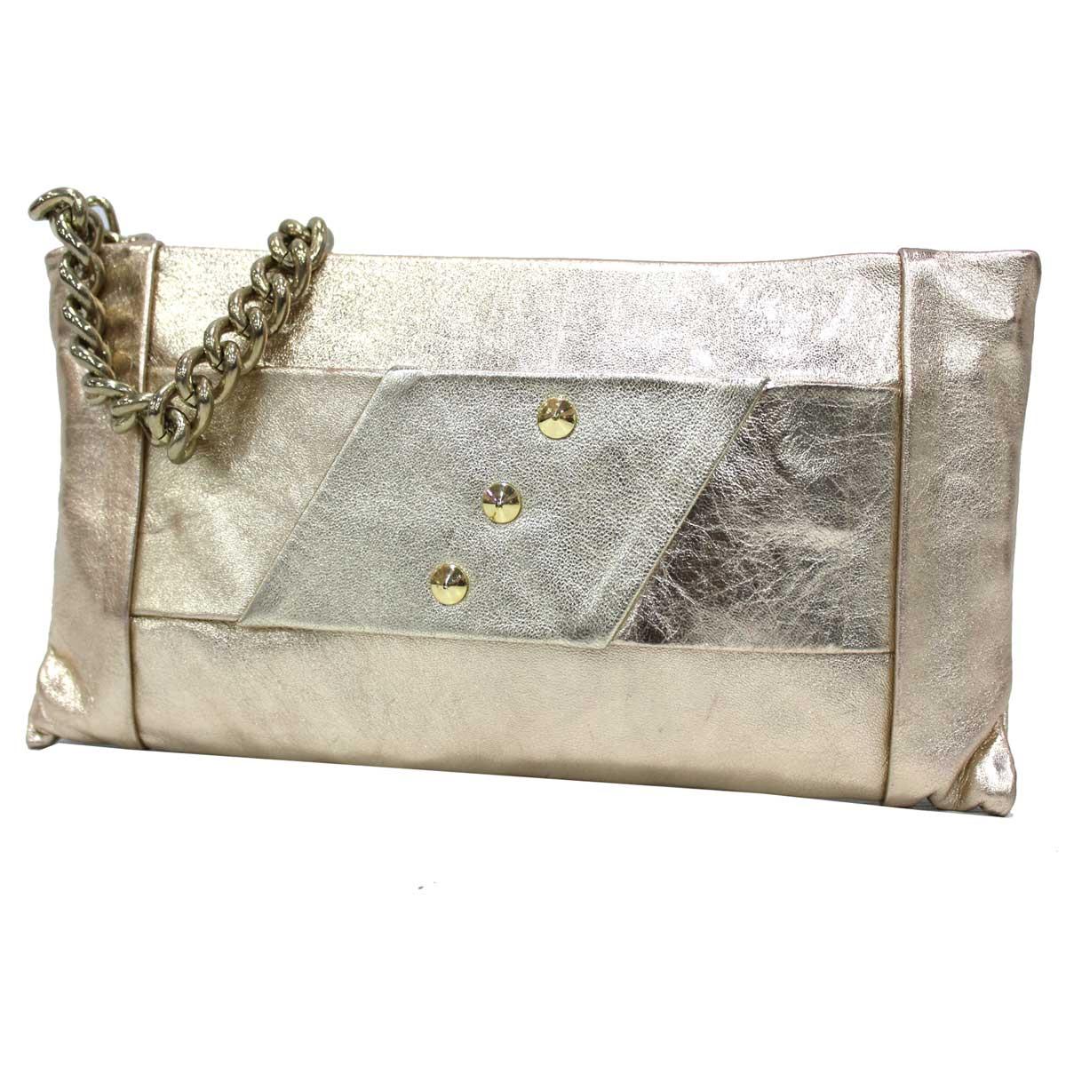 d7590296f4 Borsetta donna borsa clutch a mano da sera cerimonia pelle Annaluna 191  platino