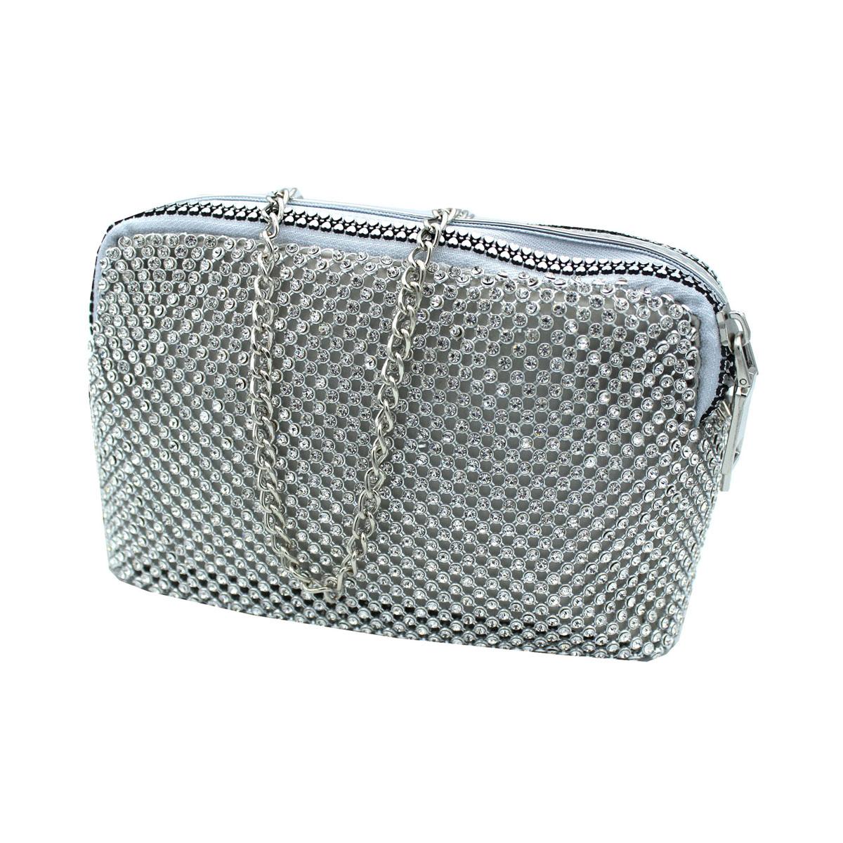 0bf6c1643b Borsetta donna borsa clutch con strass da sera cerimonia Michelle moon  v4098 sil