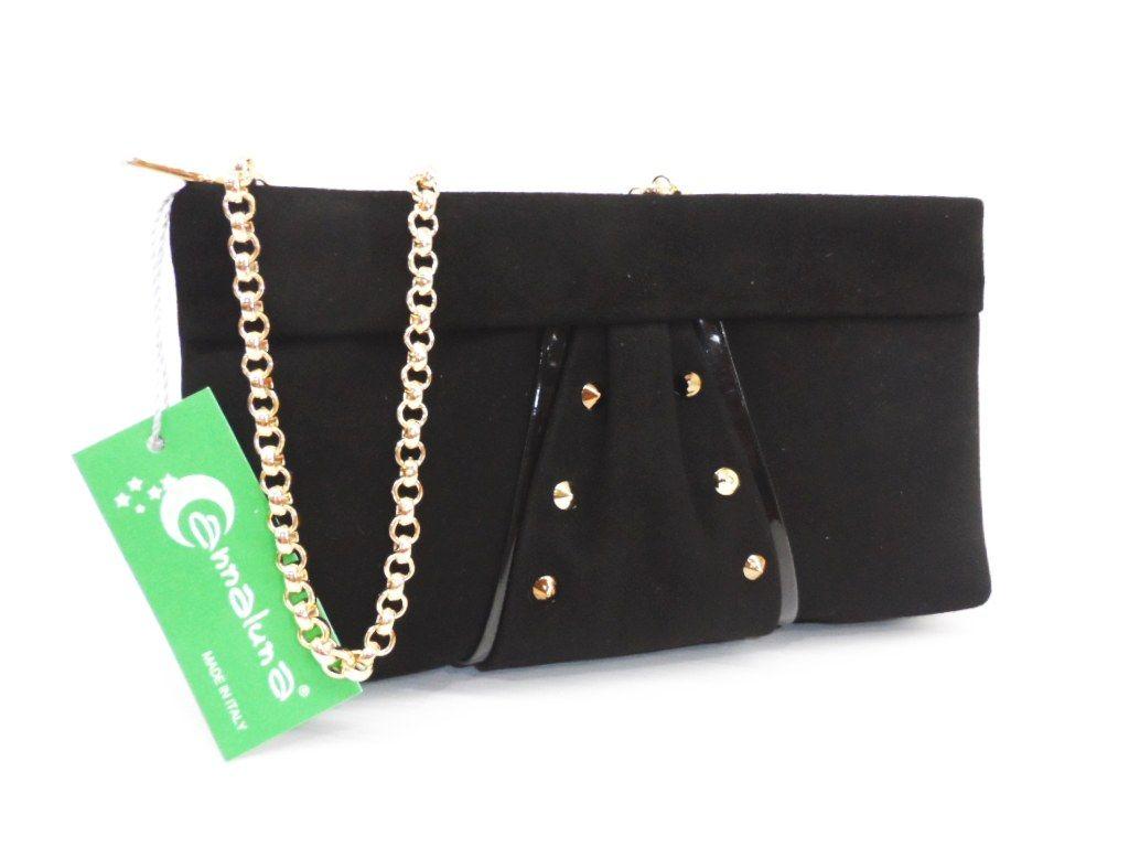 964bd1b866 Clutch Bag Handbag Evening Annaluna 189 Black Made In Italy