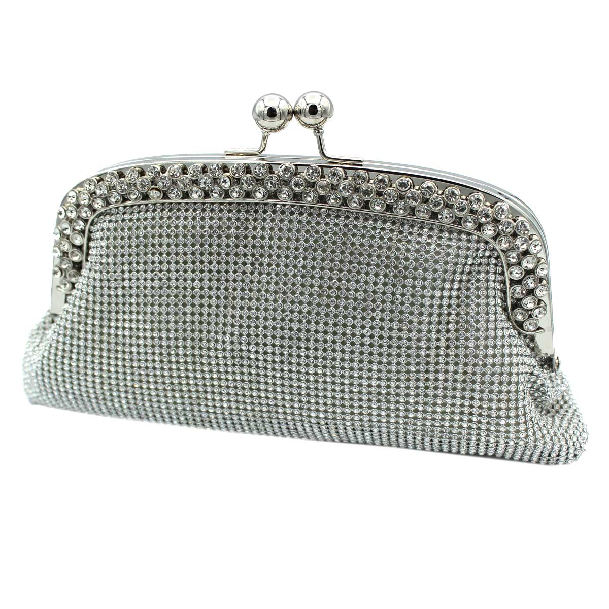 Women S Evening Clutch Bag For Party With Rhinestones Mice Moon Y4515 Silver