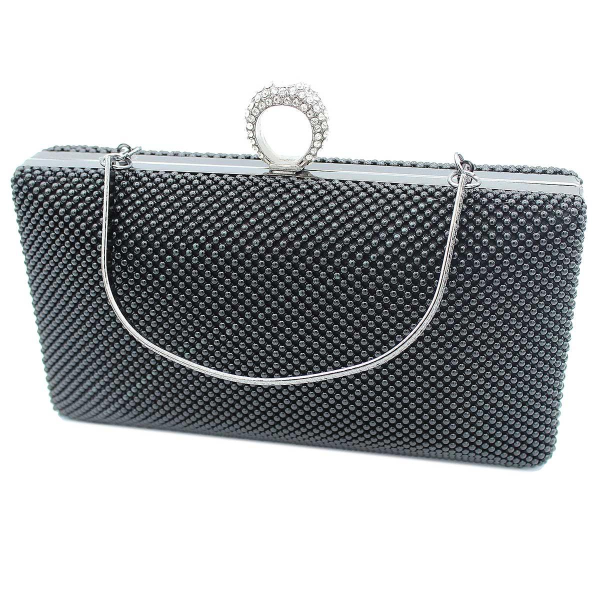 de027f9a8b Borsetta donna pochette da sera clutch con strass MICHELLE MOON v4049 nero