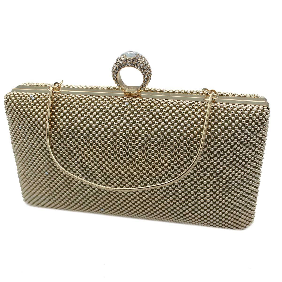 7bdcab5e50 Borsetta donna pochette da sera clutch con strass MICHELLE MOON v4049 oro