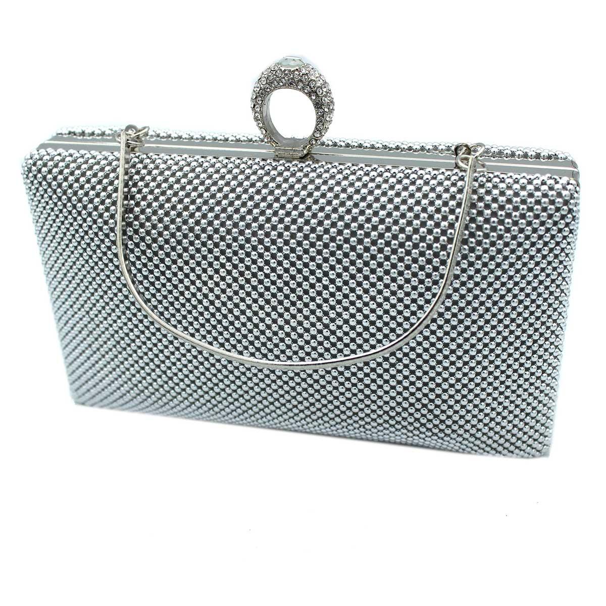 1ca51dc6e9 Borsetta donna pochette da sera clutch con strass MICHELLE MOON v4049  argento