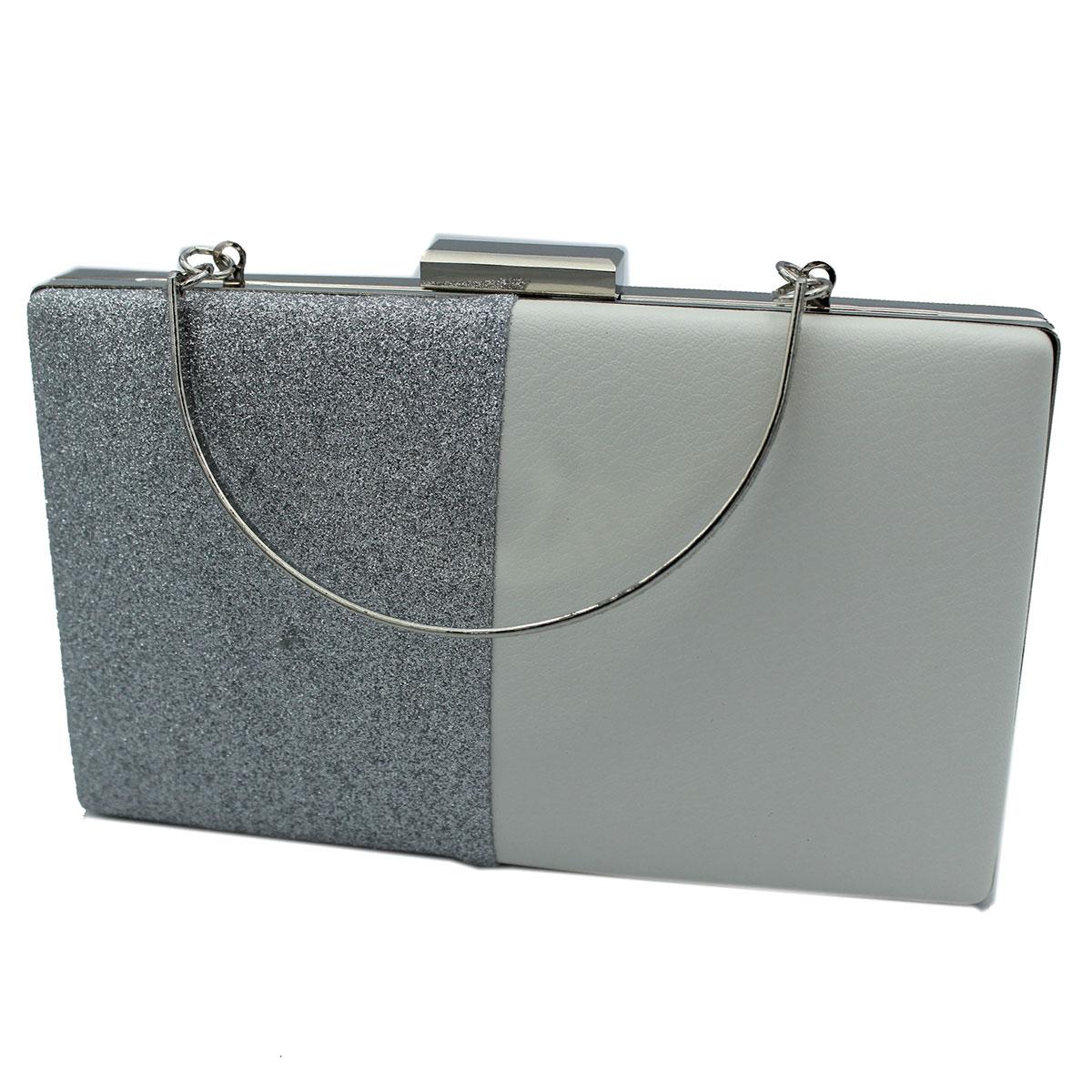 72493fb0a4 Borsetta donna pochette da sera clutch similpelle MICHELLE MOON v4087  argento