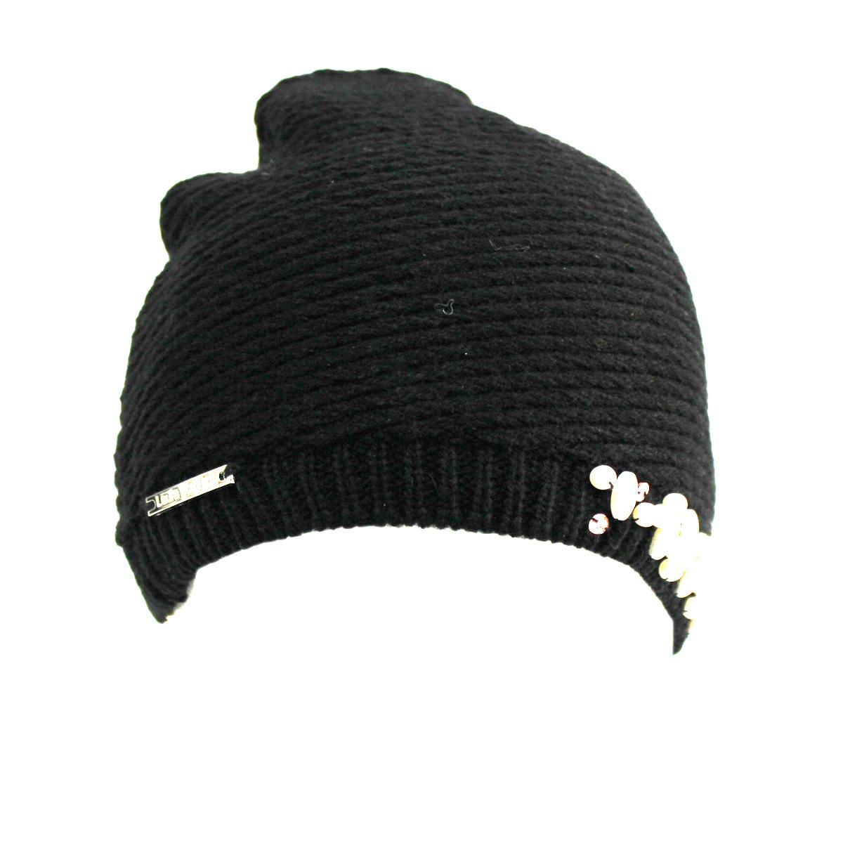 Cappello donna 100% ACRILICO cuffia con perline LAURA BIAGIOTTI 21139 nero 798cdf7efd14