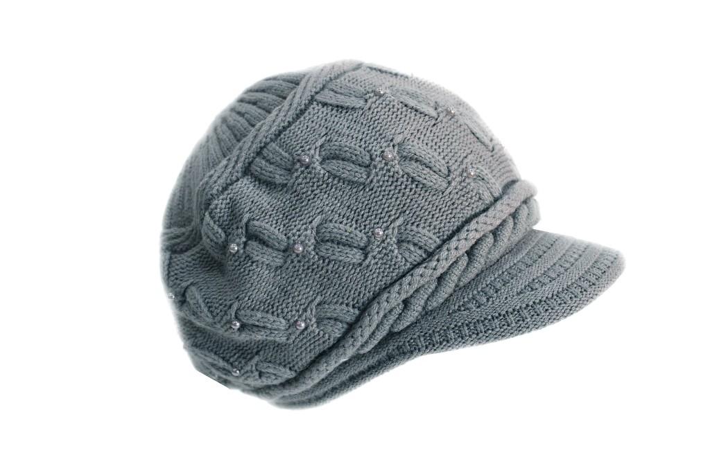 Cappello donna Gian Marco Venturi l.perline mod.con visiera 61520 grigio chiaro