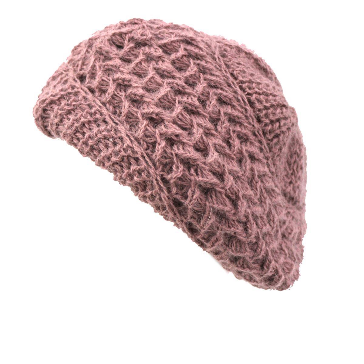 Cappello donna a maglia MISTO LANA ANGORA modello basco MADE IN ITALY 812  cipria 2e46898b5c71