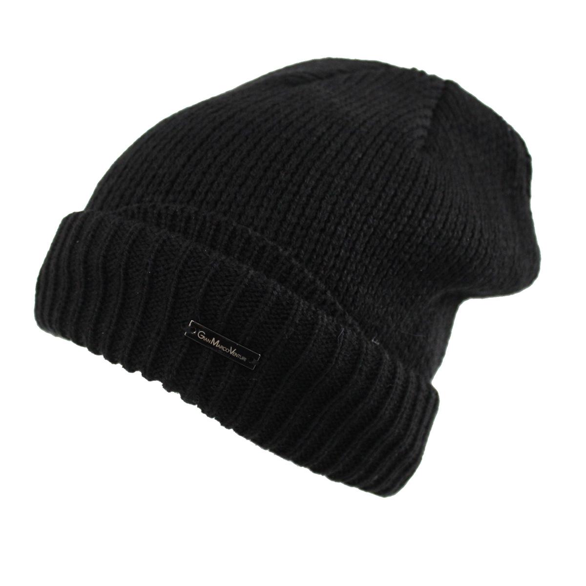 Men's hat 100% acrylic skipper with turn-up Gian Marco Venturi 71802 black