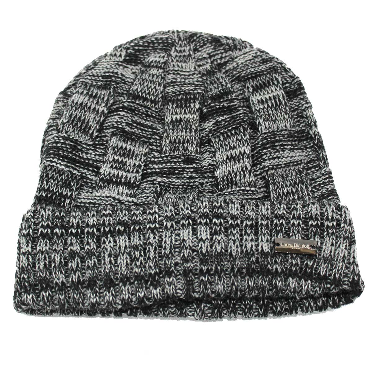 Men s hat 100% acrylic skipper model with headband cuff Laura Biagiotti  21371 black grey 52c7990f7cbf