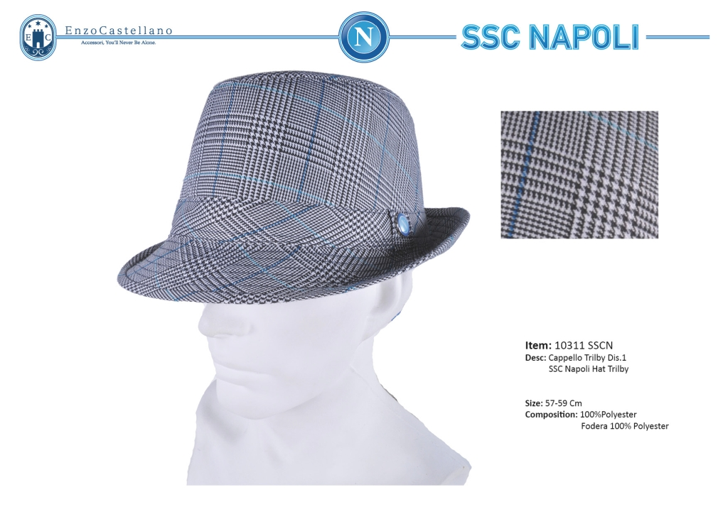 5311290d Cappello uomo trilby Ssc Napoli by Enzo Castellano l.Galles 10311
