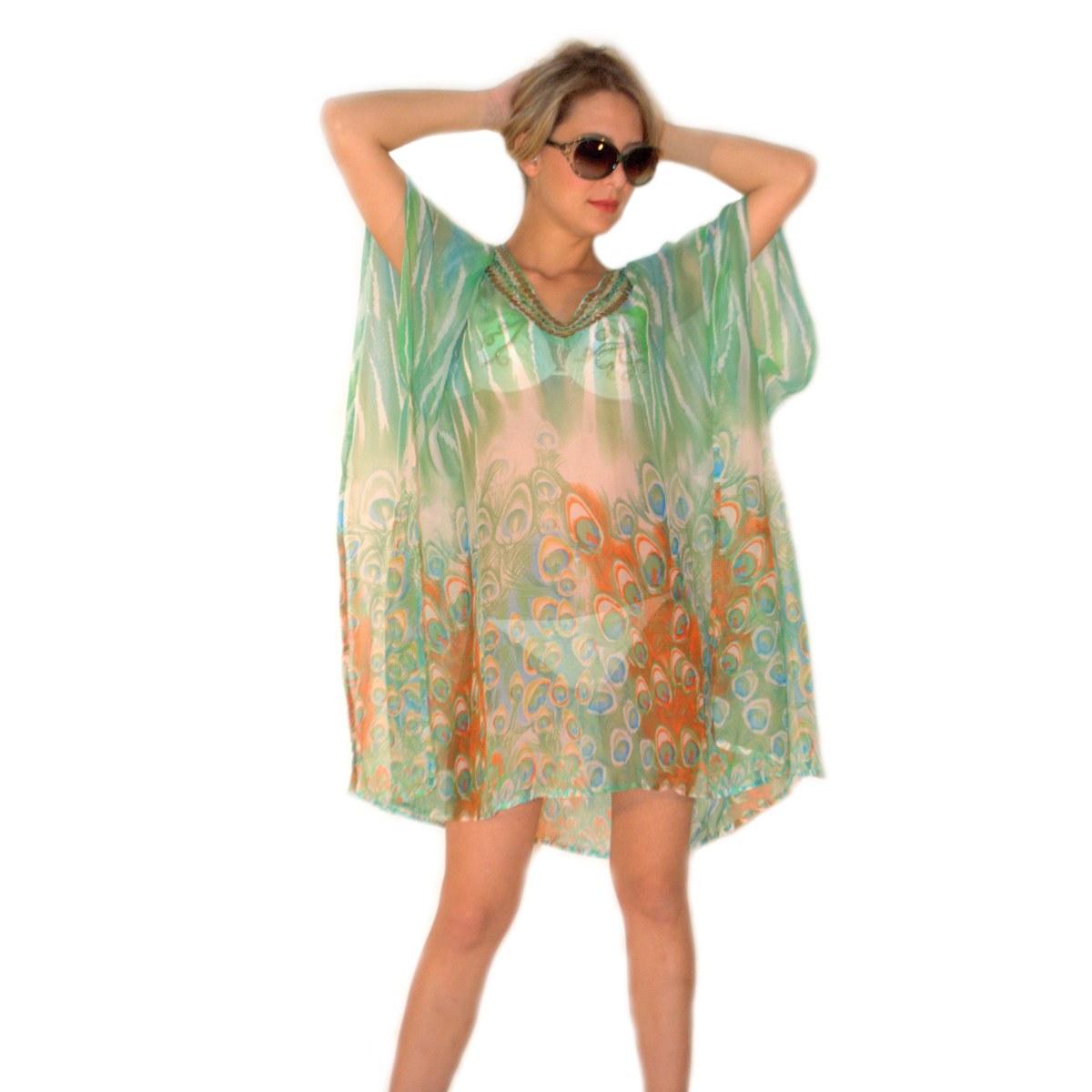 detailed look 7353a 0393c Kaftan and sarong fashion sea woman Aqua di mare chiffon line 22015 green