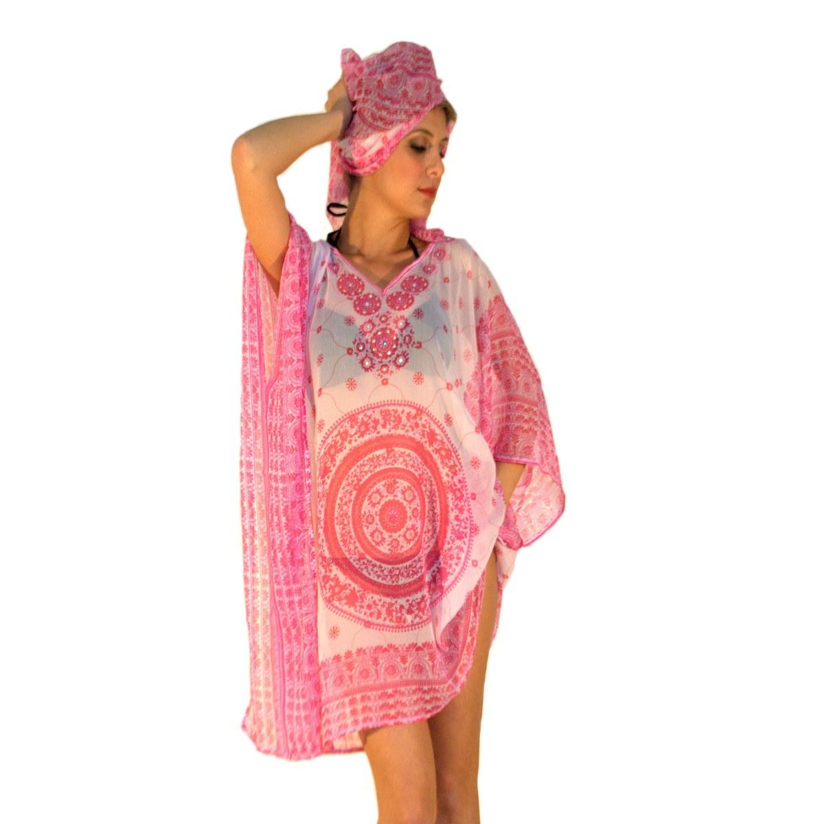 newest 78835 3c78b Kaftan and sarong fashion sea woman Aqua di mare chiffon line 22013 pink