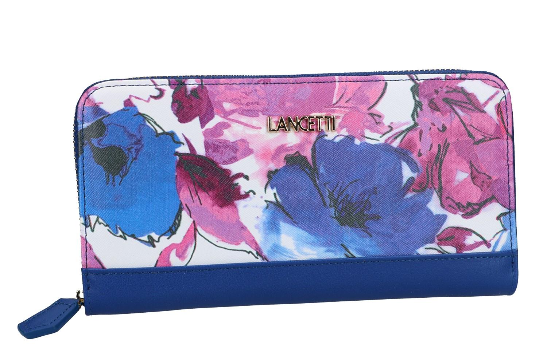 b7bb773eed Portafoglio donna Lancetti linea fiori 645-003 blu