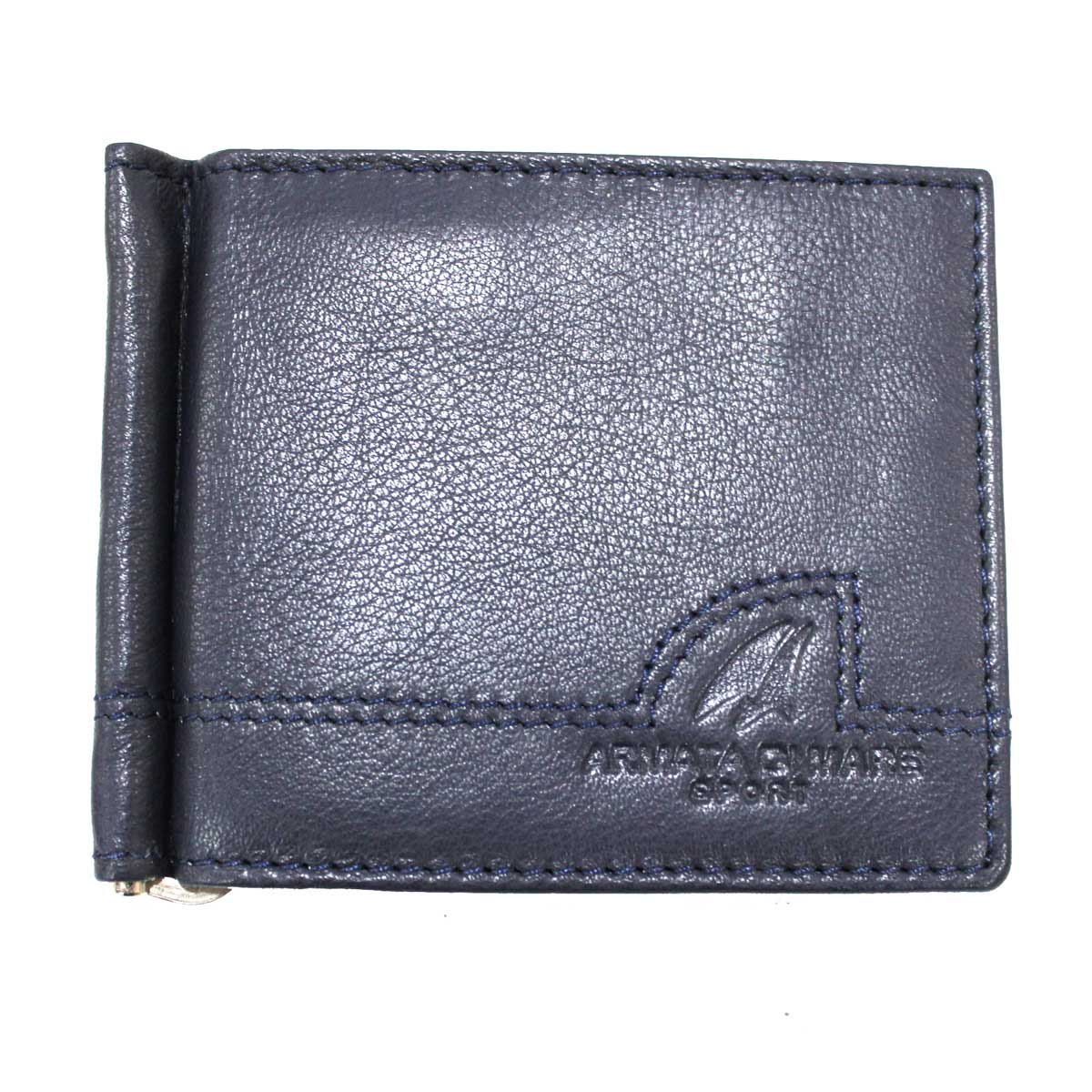 Portafoglio uomo in pelle con ferretto portamonete porta carte credito  11823 blu