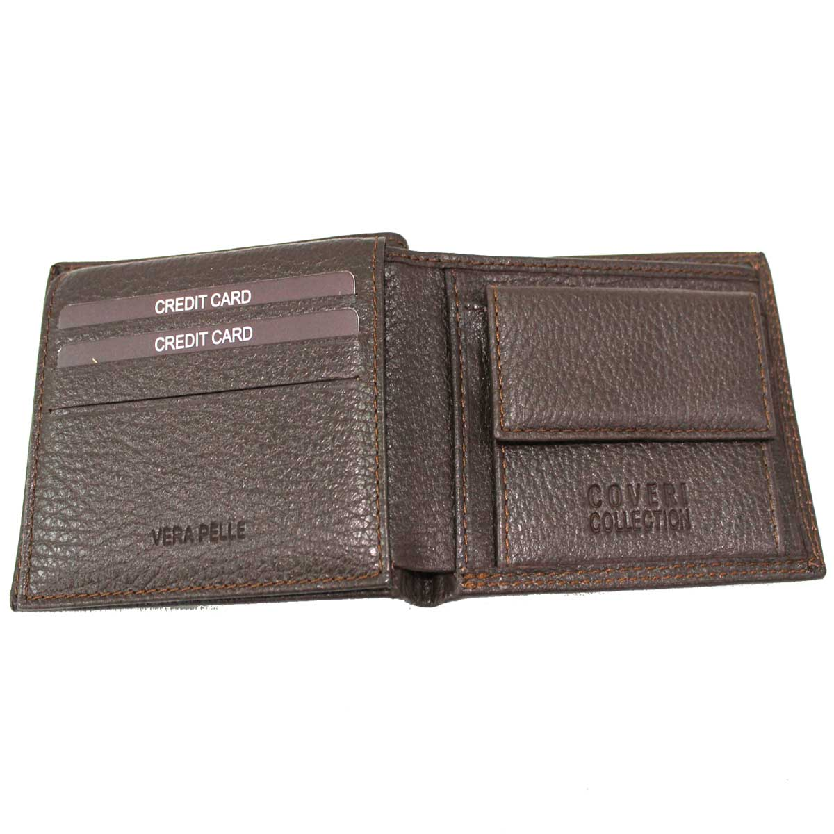 bac7a7d3f2 ... Leather men's wallet small model with coin case Coveri Collection  217-992 brown ...