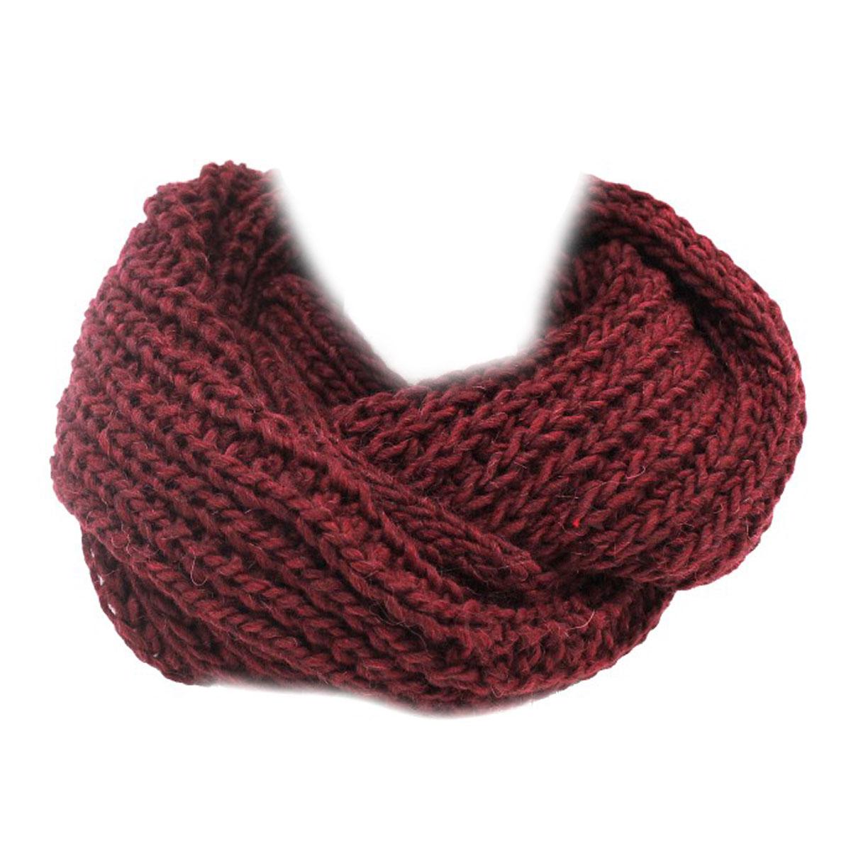 Scaldacollo donna MISTO LANA ACRILICO sciarpa anello m1508 bordò MADE IN  ITALY cecd02fb93d