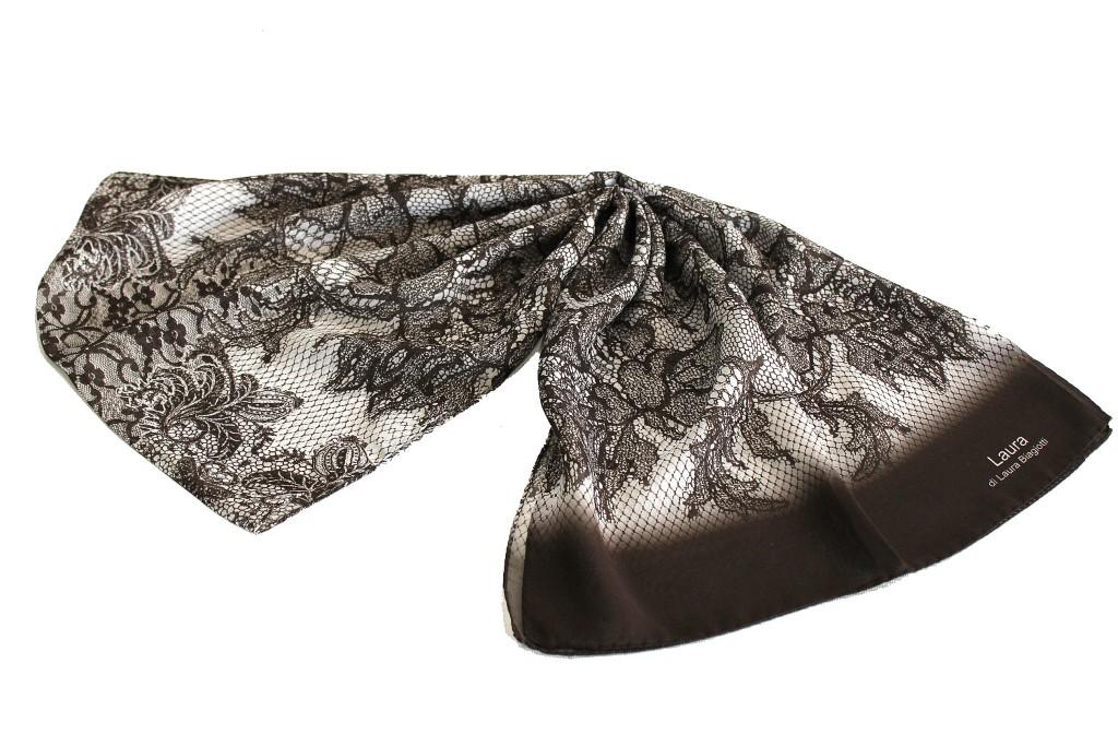 scegli l'autorizzazione consegna veloce vestibilità classica Sciarpa seta Laura Biagiotti donna linea chiffon 3716 moro made in italy