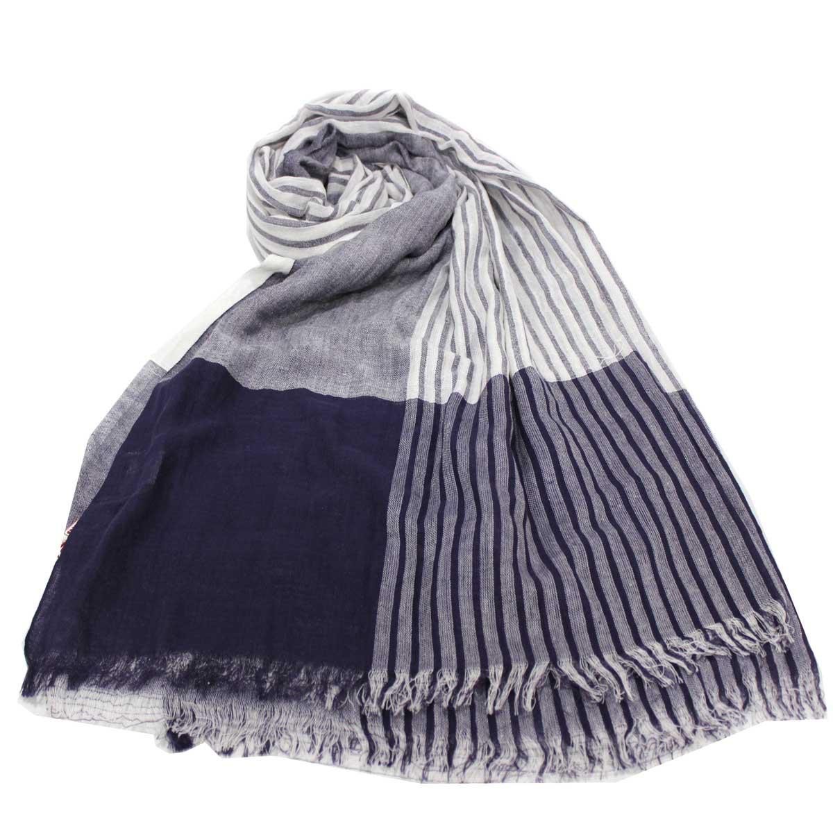 nuovo stile 78823 c2eba Sciarpa unisex uomo donna 100% cotone pashmina sfrangiata estiva 200x100 blu