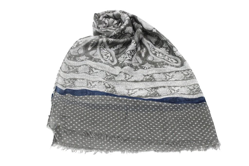 vendibile 100% di alta qualità come ottenere Sciarpa uomo 100% VISCOSA pashmina sfrangiata linea fiori R. SPORT x3330  grigio