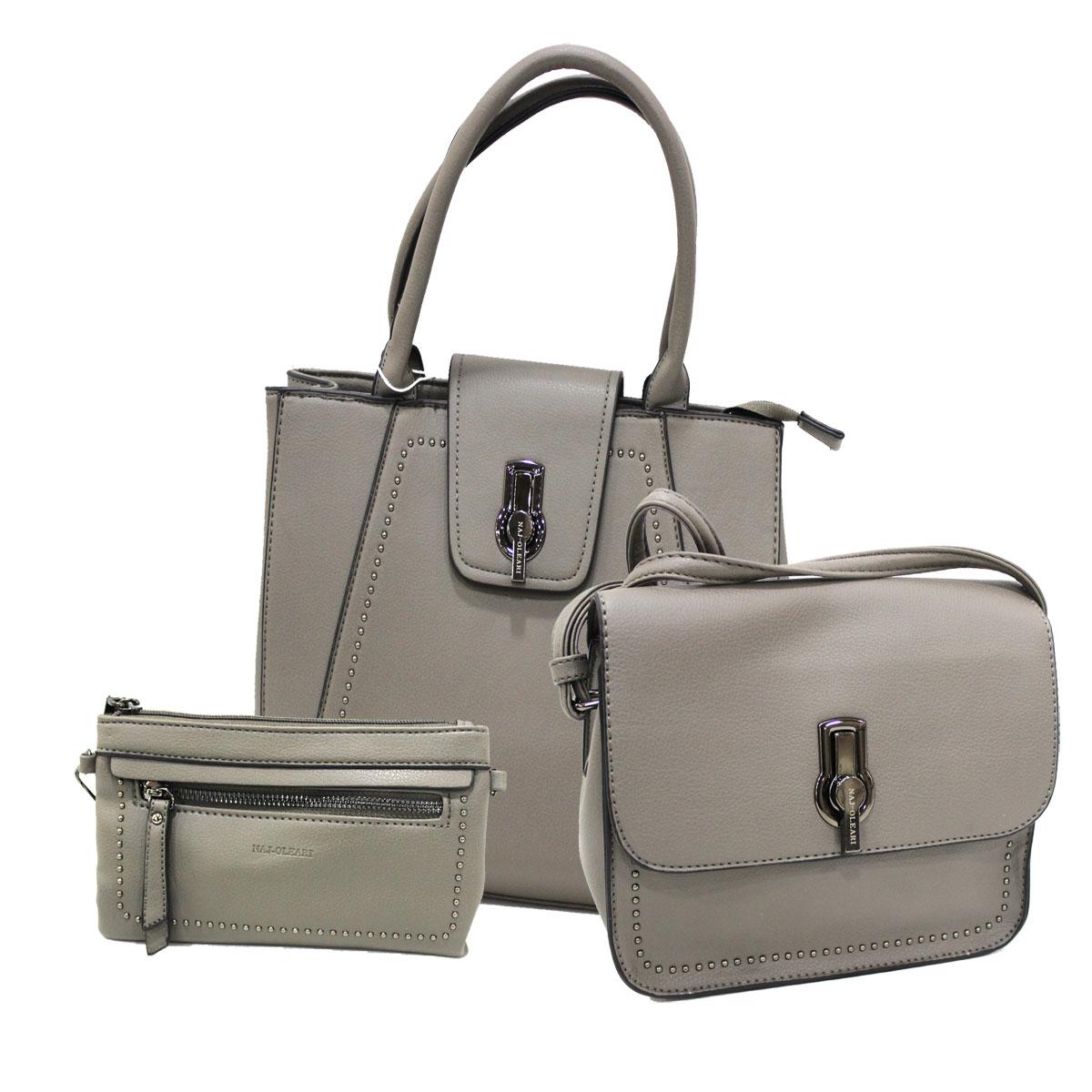Set 2 borse donna e portafoglio Naj Oleari 61660 grigio