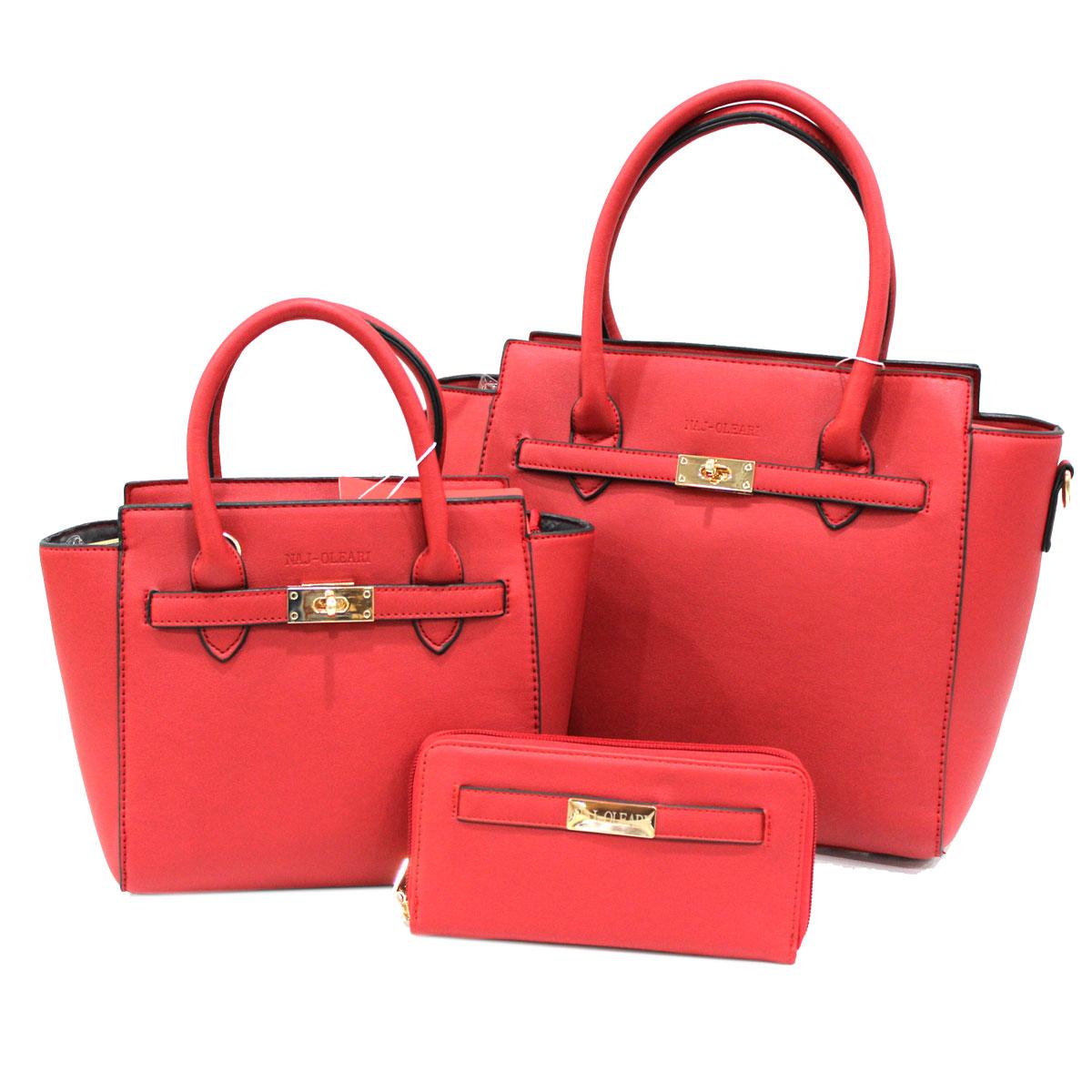 6f1a2f2a2828 Set 2 borse e Portafoglio donna in similpelle NAJ OLEARI LINEA JAZZ 61485  rubino Colore