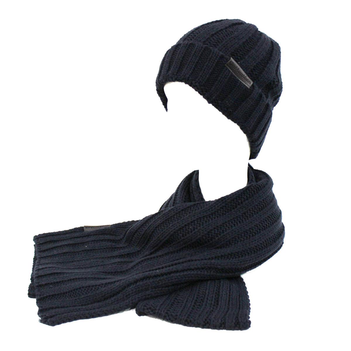 Set sciarpa e cappello uomo 100% ACRILICO in box GIAN MARCO VENTURI 71778  navy e8199db0a79d