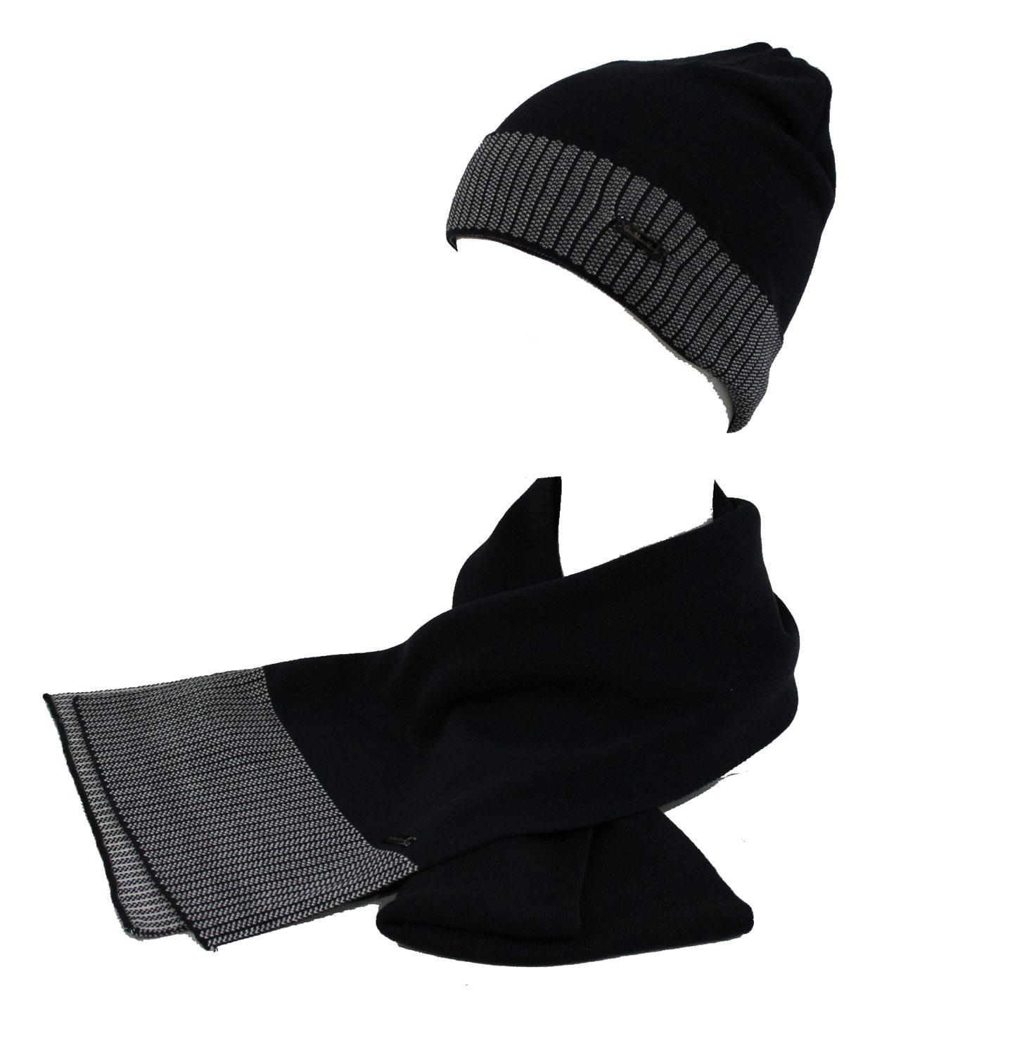 Set sciarpa e cappello uomo 100% ACRILICO in box GIAN MARCO VENTURI 71805  navy 623ca0cdf436